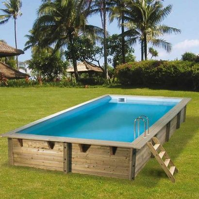 Piscine bois azura distripool for Piscine hors sol bois rectangulaire 10m2