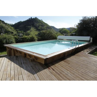 Piscine bois lin a rectangulaire distripool for Destockage piscine bois
