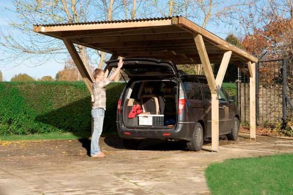Carport bois garage en y simple duo impr gn autoclave for Abri garage bois