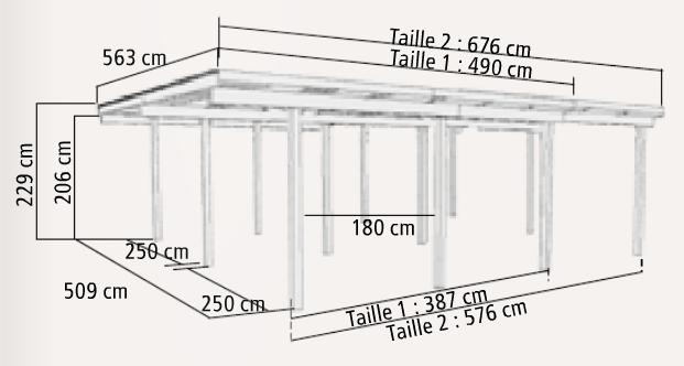 Carport double eco karibu for 3 car carport dimensions