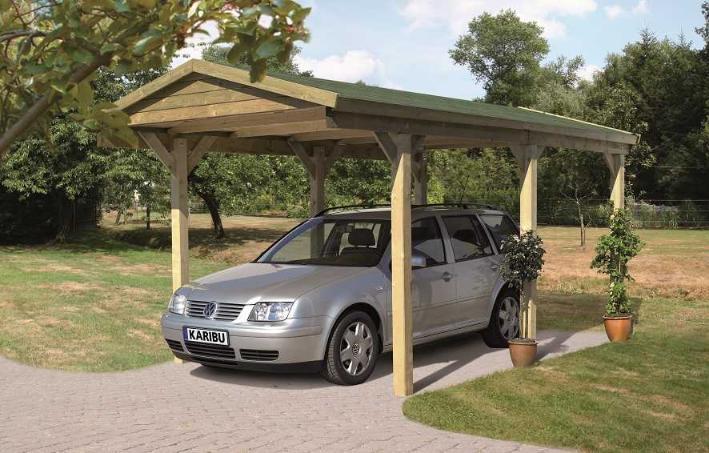 Carport bois garage avec toit double pente karibu - Carport double pente ...