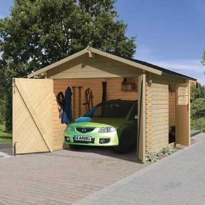 carport bois garage 28 mm karibu. Black Bedroom Furniture Sets. Home Design Ideas