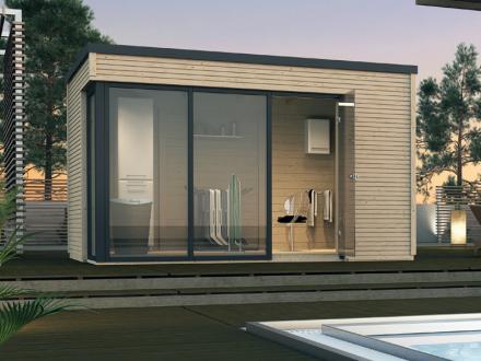 Abri de jardin en bois cubilis design taille 1 et 2 weka - Protection toit abri de jardin ...