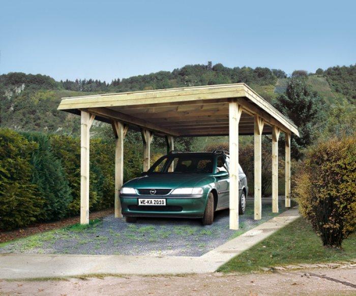 Carport bois simple tirol special neige 300 kp m weka for Abri jardin garage