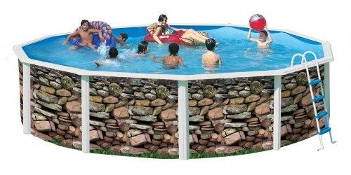 piscine hors sol en acier ronde ibiza muro. Black Bedroom Furniture Sets. Home Design Ideas