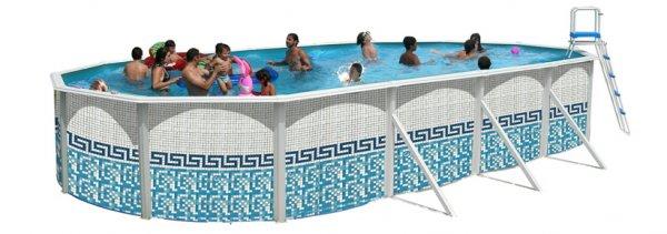 Piscine hors sol ovale mosaiko distripool for Pieces piscine hors sol acier