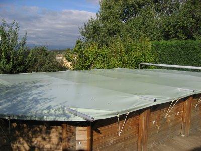 B che barres piscine bois coverwood sur mesure for Bache piscine hexagonale