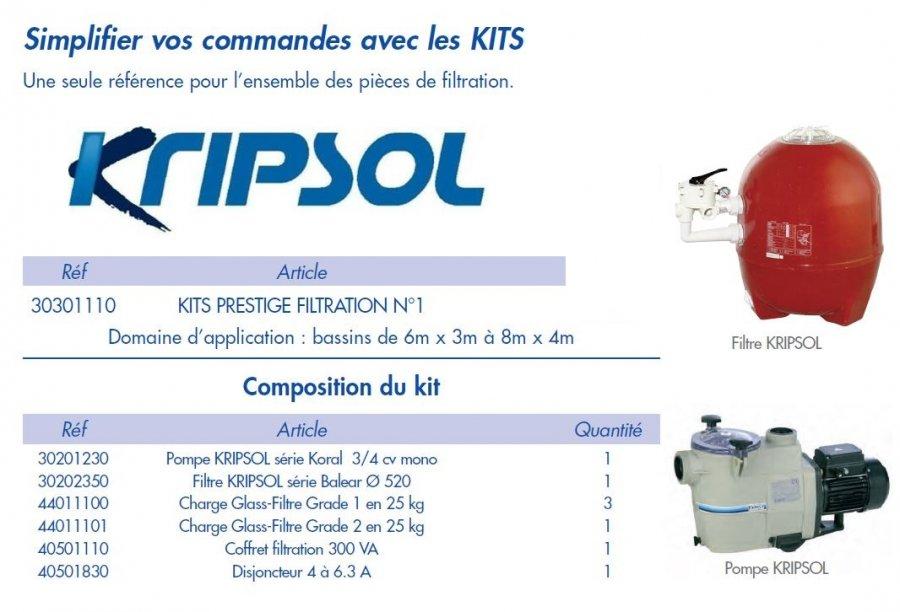 Kit filtration piscine prestige 15 m3 h kripsol distripool for Kit filtration piscine