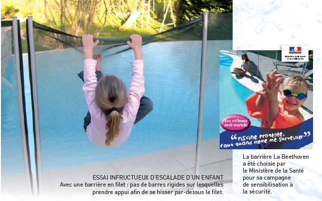 Cl ture piscine filet beethoven noir poteaux noirs for Protection enfant piscine