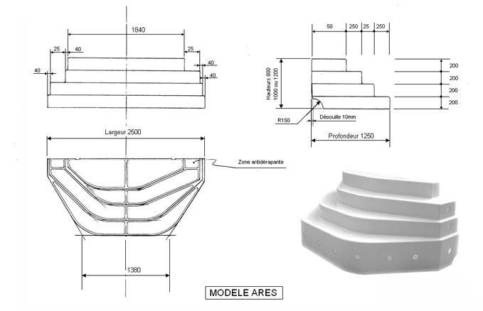 Escalier sur liner piscine ares accelo distripool for Escalier piscine amovible