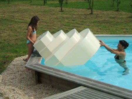 Escalier sur liner piscine athena accelo distripool for Piscine hors sol avec escalier interieur
