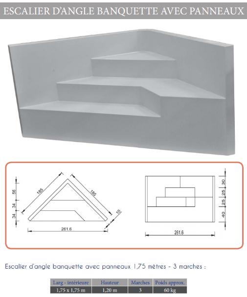 Captivant Escalier Angle Banquette 1.75 M : 3 Marches Pour Piscine De 1.20 M H Idees De Conception De Maison