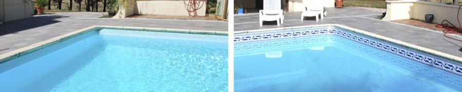 Frise piscine auto collante saphir 24 cm x 5 m for Frise liner piscine