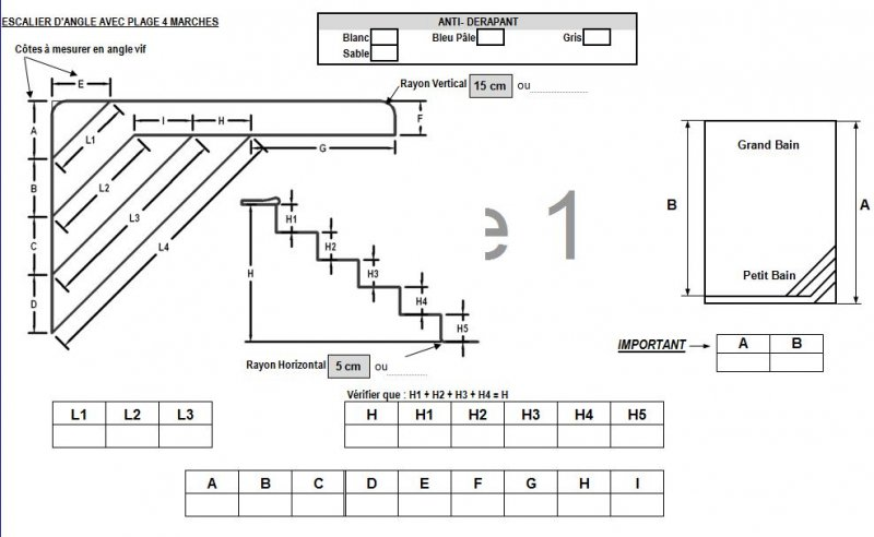 Forfait escalier liner plage forme a distripool - Calcul quantite beton ...