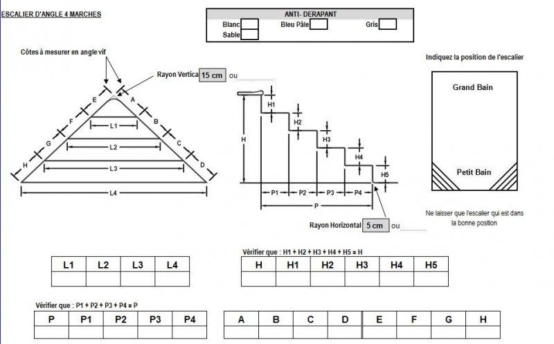 Forfait liner escalier carr roman d 39 angle distripool - Escalier d angle piscine beton ...