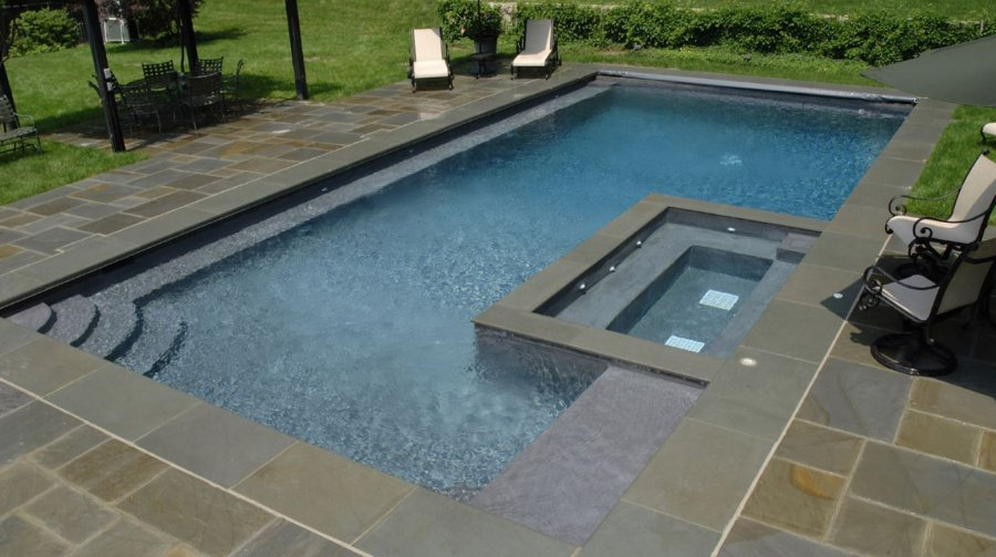 Piscine bois liner gris for Liner piscine