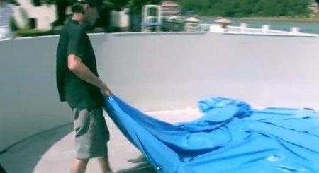 pose liner piscine hors sol