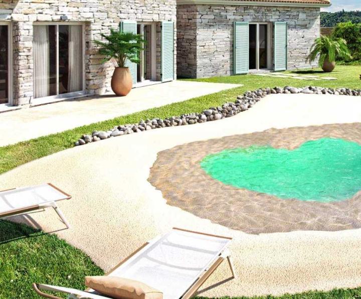 Mini piscine caoutchouc de 30 m avec plage for Piscine en caoutchouc