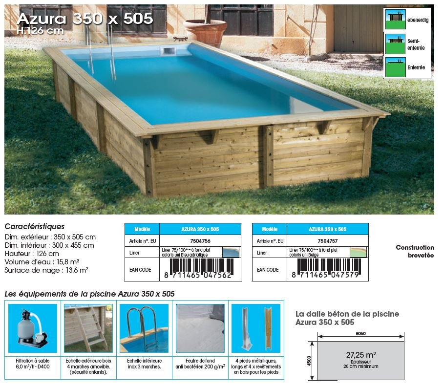 Piscine bois azura distripool for Projecteur piscine bois