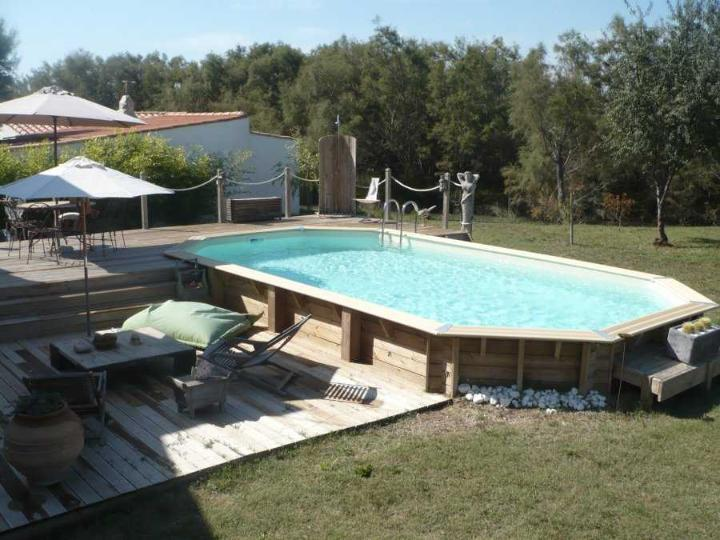 Piscine bois oc a allong e distripool for Projecteur piscine bois