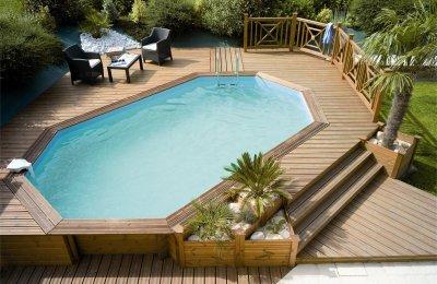 Piscinas elevadas a bajo precio de acero o madera for Piscina elevada madera