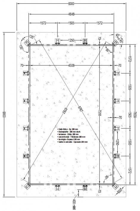 Piscine en bois lin a rectangulaire 500 x 800 cm for Plan piscine beton