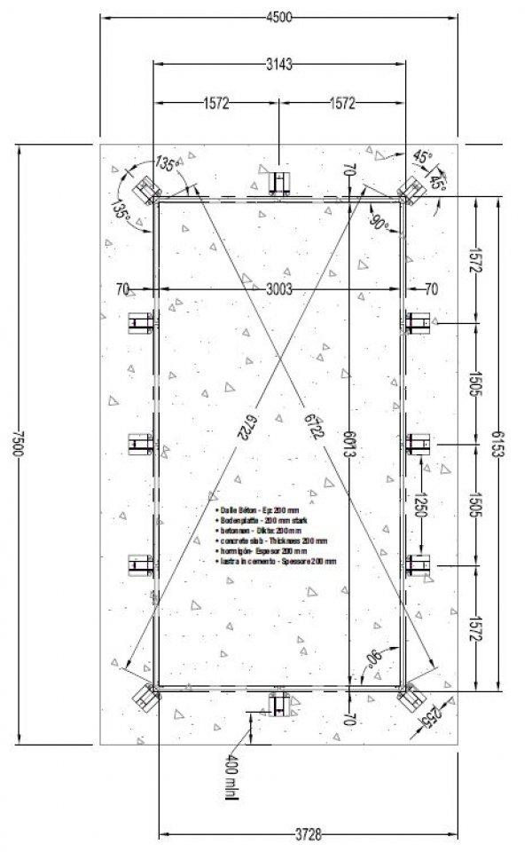 Piscine en bois lin a rectangulaire 350 x 650 x 140 cm for Plan piscine beton