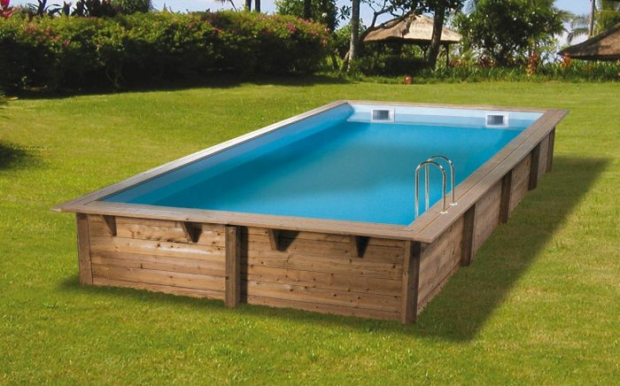 Piscine en bois lin a rectangulaire 350 x 650 x 140 cm for Portillon 1m50 de large