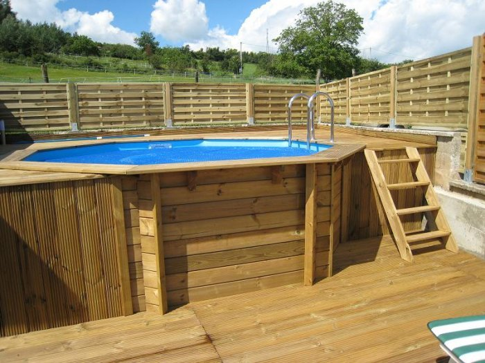 Piscine en bois ocea diam 580 x 130 cm for Piscine bois canaries