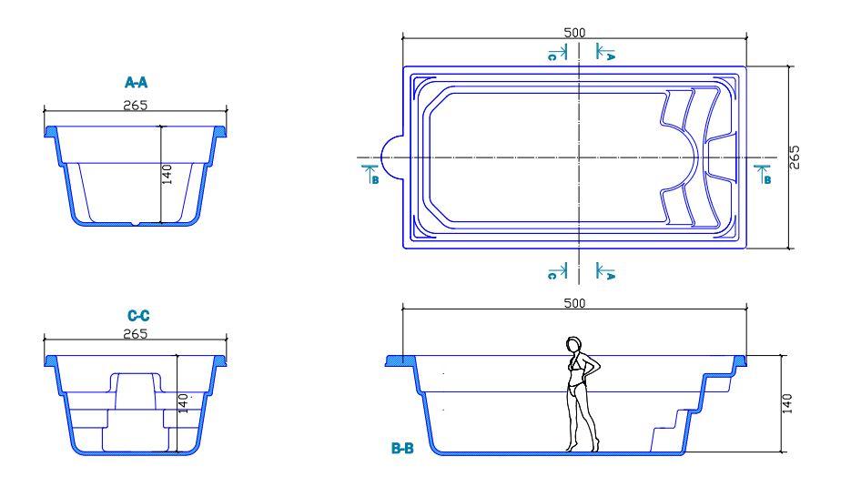 Piscine en coque boston 500 cm x 265 cm x 140 cm for Plan filtration piscine