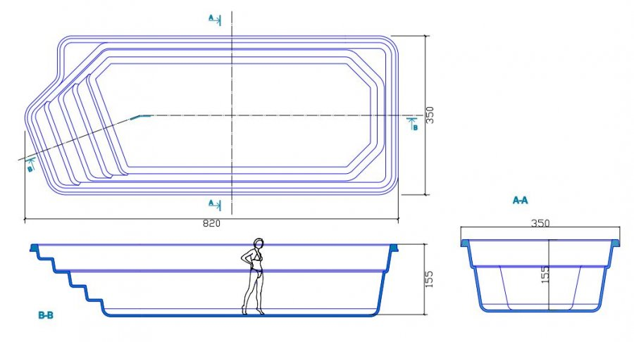 Piscine en coque portland 820 cm x 350 cm x 155 cm for Plan filtration piscine