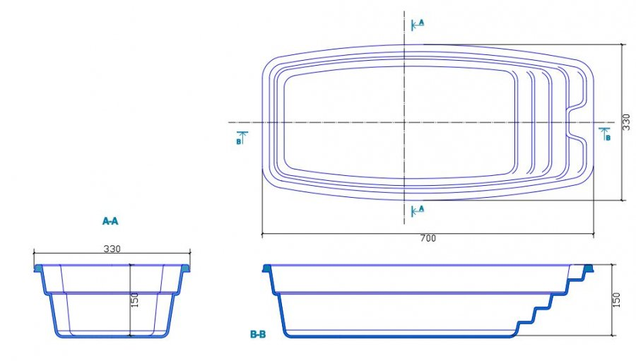 Piscine en coque chicago 700 cm x 330 cm x 150 cm for Plan filtration piscine