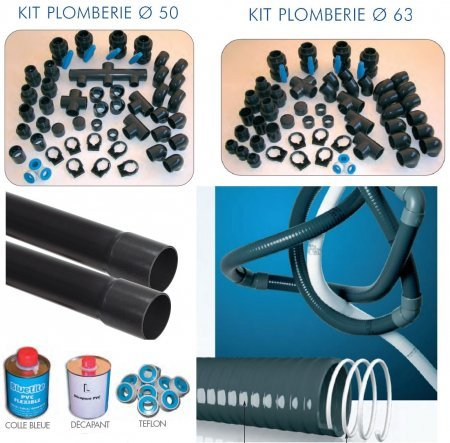 Piscine en kit construction traditionnelle beton luxe for Plomberie piscine