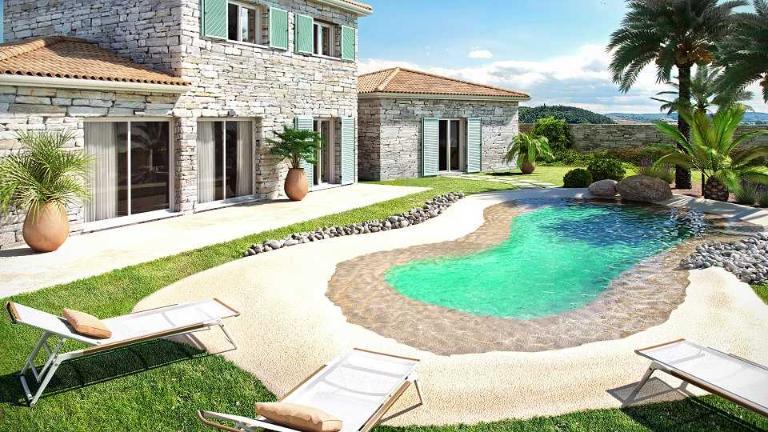 Kit piscine avec plage en caoutchouc for Piscine avec plage