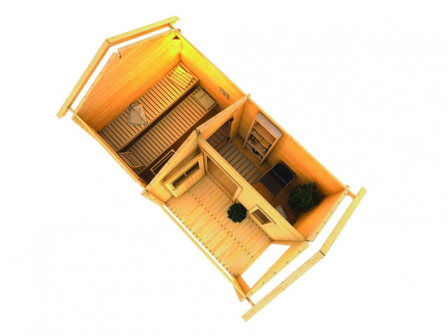 Sauna ext rieur 38 mm chalet 4 karibu - Plan sauna finlandais ...