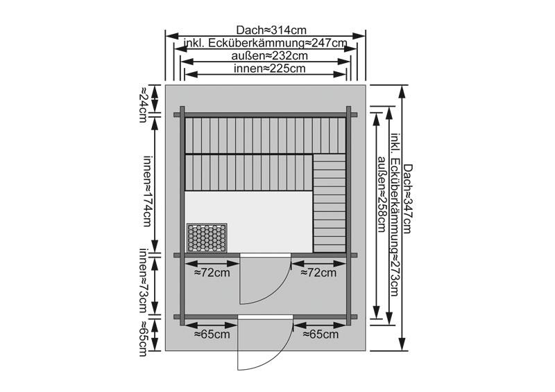 Sauna ext rieur 38 mm chalet 2 karibu for Kit sauna exterieur
