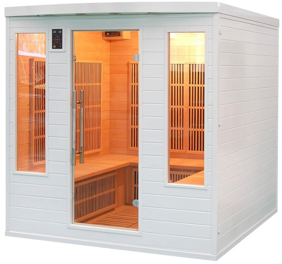 Sauna infrarouge soleil blanc 4s de 5 places france sauna - Avis sauna infrarouge ...