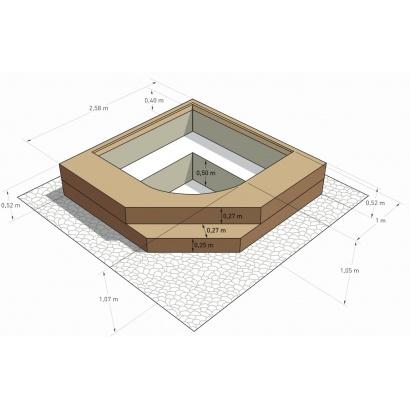 Spa en kit b ton carr palermo x m for Spa beton autoconstruction